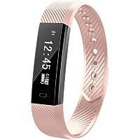 FuSon Reloj Fitness Tracker, Reloj Inteligente/Contador de Pasos/Monitor de sueño/Pulsera GPS conectada para Android y iOS Smartphone (Rosa)