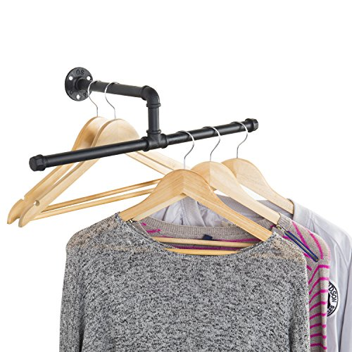 Hanging Clothes Rod (MyGift Industrial Rustic Wall-Mounted 20-Inch T-Bar Pipe Hanging Clothing Rack)