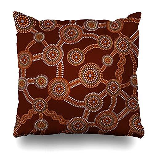 - Aika Designs Throw Pillows Covers Pillowcase Art Pattern Australian Aboriginal Dot Painting Abstract Design Australia Circle Aborigine Artistic Home Decor Zippered 18