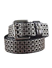 Lostryy Cinturón de Moda para Hombre y Mujer/cinturón de Cuero Puro con Personalidad de Rock/cinturón Salvaje Casual de Negocios/Adecuado para Todos los Pantalones/se Puede Ajustar, Negro, 115 cm