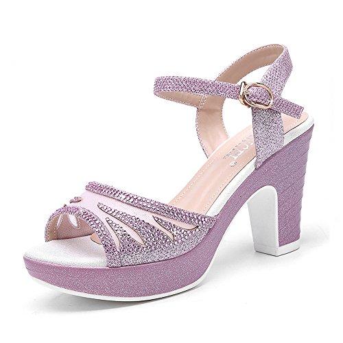 Verano Amazing Sandalias Tacón Señora Eu38 Grueso Tacones De Pink Pink color 5 Mujer Altos uk5 Gruesos Tamaño Medio cn38 dXAASqw