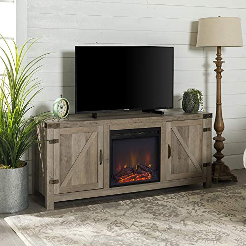 Home Accent Furnishings New 58 Inch Barn Door Fireplace Television Stand Grey Wash, 58 Inch
