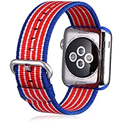 Efanr Woven Nylon Watch Band Replacement for iWatch Apple Watch Fabric Strap Band Bracelet Belt Wristband Accessories for Smart iWatch (42mm Flag Color)