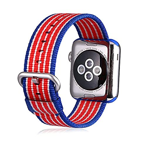 Efanr Woven Nylon Watch Band Replacement for iWatch Apple Watch Fabric Strap Band Bracelet Belt Wristband Accessories for Smart iWatch (42mm Flag (Citizen Flag Band)