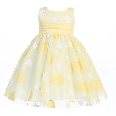 9cf7642383e Amazon.com  Lito Little Girls Yellow Glittered Polka Dot Tulle ...