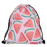 Violet Mist Print Drawstring Bag Tote Gym Sack Cosmetic Bag Backpack Lightweight Bundle Pocket for Women Girls Christmas Party Travel (Watermelon)