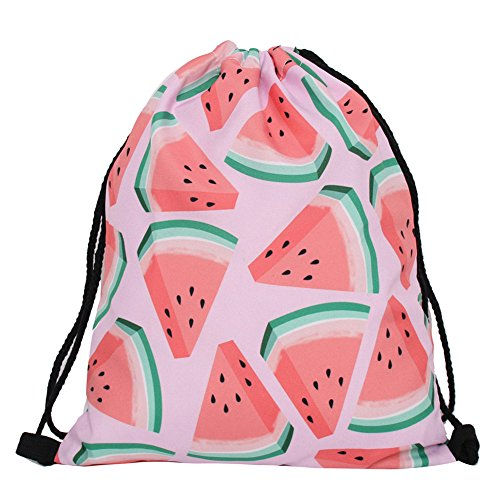 Violet Mist Print Drawstring Bag Tote Gym Sack Cosmetic Bag Backpack Lightweight Bundle Pocket for Women Girls Christmas Party Travel (Watermelon)