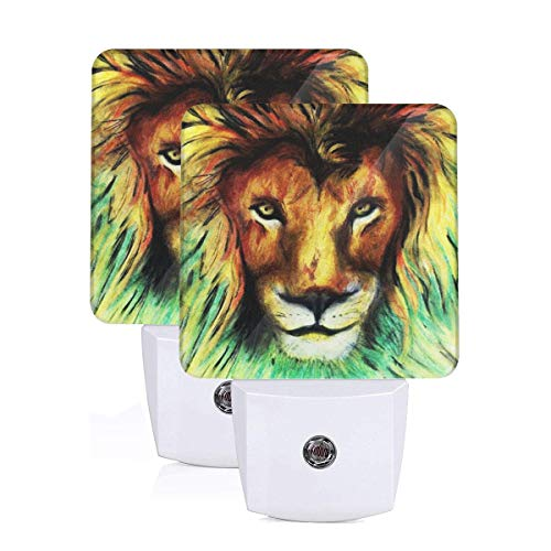 - Free5-5 Jamaica Rasta Lion Head Plug-in LED Night Light with Automatic On Off Dusk to Dawn Flat Nightlight Indoor Home Decor 2Pack