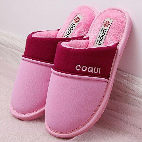 Fankou uomini pantofole di cotone coppia femminile di cotone cotone mop mop girl inverno impermeabile minimalista indoor ,42-43, rosa