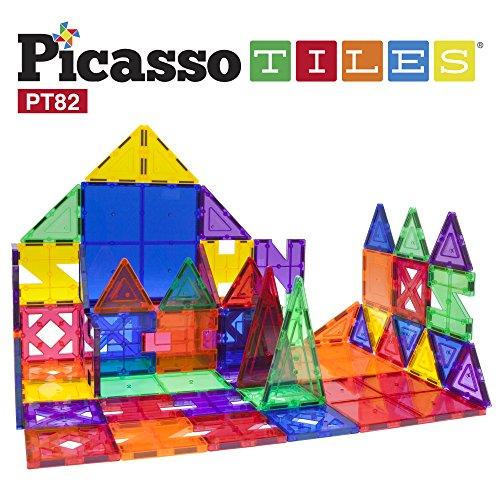 PicassoTiles 82 Piece Building Blocks 82pcs Creativity Kit 3D Building Construction Toy Set Clear Magnetic Stacking Block STEM Playboard Magnet Felt Tiles Novelty Game, Creativity Beyond Imagination