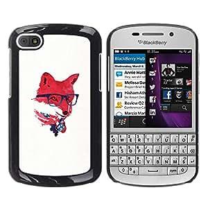 EJOY---Cubierta de la caja de protección la piel dura para el ** BlackBerry Q10 ** --Red EE.UU. Hipster Fox