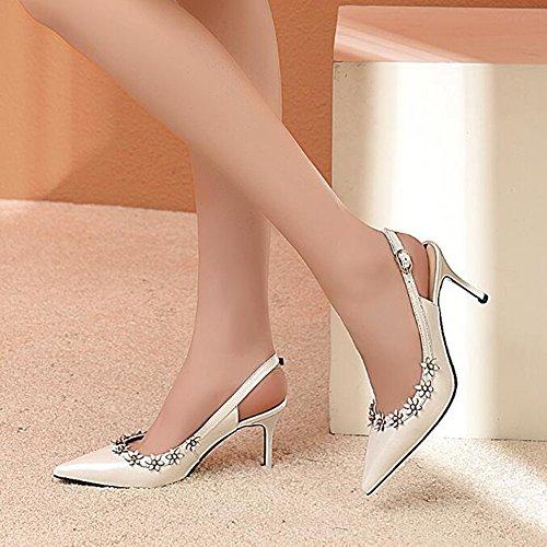 Tacchi Scarpe Fiori 7 Punta Princess Alti Sandali 5cm Rosa Estivi Donna Bianco A Bianca SddCqA