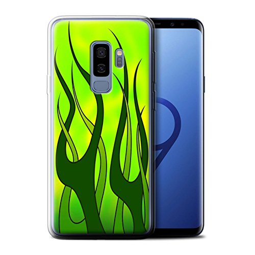 - STUFF4 Gel TPU Phone Case / Cover for Samsung Galaxy S9 Plus/G965 / Green/Lime Design / Flame Paint Job Collection