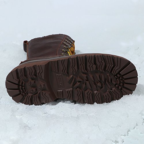 Leather Mid High Lace Snow Flat Waterproof Winter For Chocolate Women Casual UP Boot DOWTO 0xCn5qS4EE