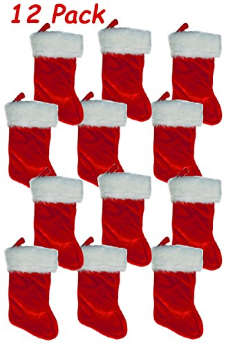 White Red Plush Stocking - Pack of 12, Christmas Santa Claus Holiday Felt Stocking, With White Plush Cuff & Red Hanging Tag, 17