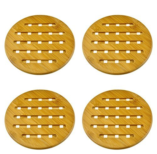 Weikai 11, Set of 4, Solid Bamboo Wood Trivets with Non-Slip Pads for Hot Dishes and Pot (7 Round)