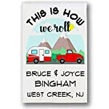 Cheap Happy Camper World This is How We Roll Personalized Truck & Trailer Campsite Flag, Camping Sign, White Fabric (Red)