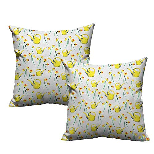 - RuppertTextile Couple Pillowcase Daffodil Daffodils and Watering Cans Pattern Watercolor Style Print Gardening Theme Without core W20 xL20 2 pcs