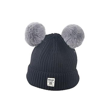 ZHOUBA Baby Boys Girls Bobble Knit Beanie Hat Plush Ball Ears Toddlers  Winter Warm Double Pompom 03b9cfa652a