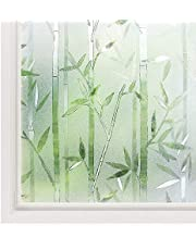 Rabbitgoo Window Film 3D No Glue Static Cling Film Privacy Glass Film Bamboo Frosted Window Films 23.6 x 78.7 inches