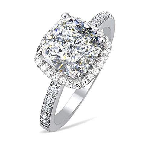 - 101 Facets 2 Carat Princess Cushion Cut NSCD Simulated Diamond Ring 925 Silver Platinum Plated Halo RSQR60