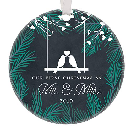 Our First Christmas Mr & Mrs Ornament 2019 Gift Idea Cute Newlywed Love Birds Ceramic Keepsake Present 1st Holiday Married Couple 3