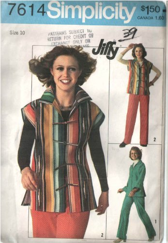 - Vintage Simplicity 7614 Sewing Pattern for Front Tie or Button Loop Closure Vest or Jacket & Pants with Back Zipper, From the Jiffy Series From 1976
