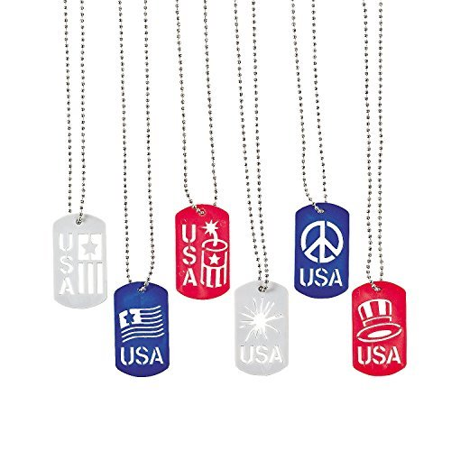 Fun Express Patriotic Cut-Out Dog Tag Necklaces (12 Pack)