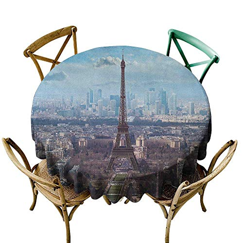 Wendell Joshua Mermaid Tablecloth 60 inch Eiffel Tower,Aerial View of Eiffel Tower Clear Day Boulevard Busy Town Park Skyscrape, Pale Blue Brown Polyester Fabric Table ()
