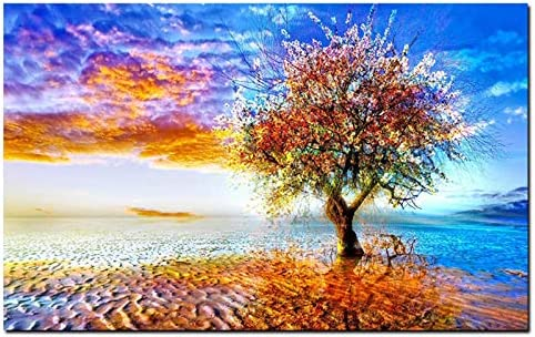 抽象地球木芸術絵画プリントキャンバス壁写真現代アート用リビングルーム-70x100cmx1ピースなしフレーム