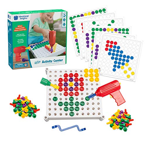 Educational Insights Design & Drill Activity Center: 146 Piece-Build & Learn, Fine Motor Skills & STEM Learning with Toy Drill