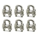 6 Pieces M8 Stainless Steel Wire Rope Cable Clip Clamp 5/16'' Wire Rope Cable Clip