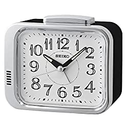 Seiko Bell Alarm Clock with White Dial, Black, 12 x 7.8 x 13 cm