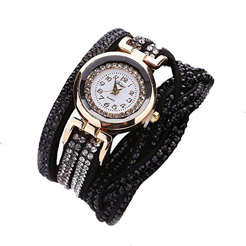 YaidaDuoya Brand Watches Women Luxury Crystal Women Gold Bracelet Quartz Wristwatch Rhinestone Clock Ladies Dress Gift Watches (Black)
