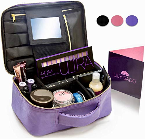 Travel Makeup Bag with Mirror & Adjustable Dividers - Best Cosmetic Case Organizer Make Up Bag with 100% QUALITY GUARANTEE - More Storage than 3 Make Up Organizers, Cosmetic Bags or Travel Makeup Bags