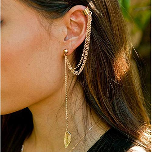 - Women Fashion Leaf Pendant Long Chain Tassel Drop Earrings Ear Cuff Clip Gold Silver Color Vintage Boho Jewelry Gift Gold