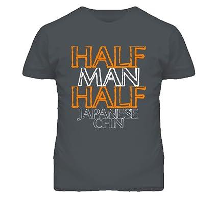 be7893441269d Half Man Half Japanese Chin Funny Animal T Shirt S Charcoal Grey