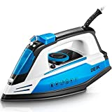 Deik Steam Iron, Iron with Nanoceramic Soleplate, Fast Heat Iron with 5-Level Variable Temperature & Steam Control, Anti-Drip, Vertical Steam Boost, Self-Clean, Anti-Calc & Nonstick, 1200W