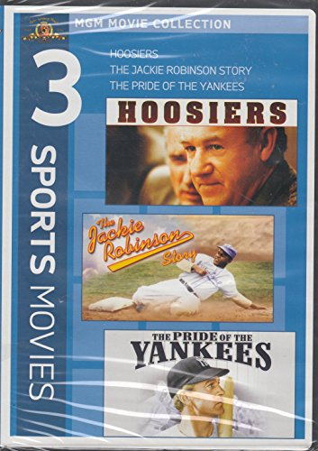 3 Sports Movies: Hoosiers / The Jackie Robinson Story / The Pride of the Yankees