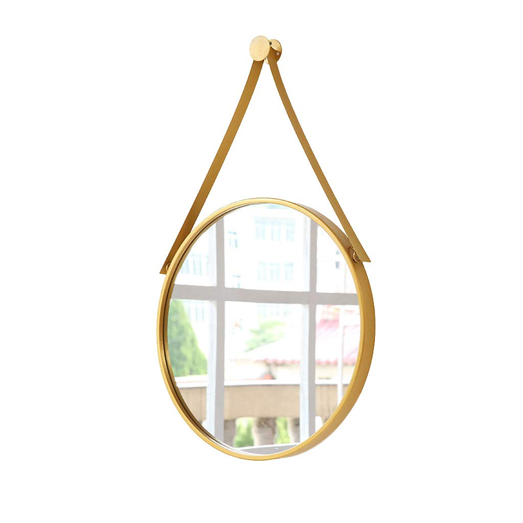 gold 50x50cm Greawei@ Nordic Simple Wall Hanging Mirror - Bathroom and Bedroom Vanity Mirror - Round Wall Hanging Mirror - Glass Decorative Mirror Simple and Elegant (color   gold, Size   50x50cm)