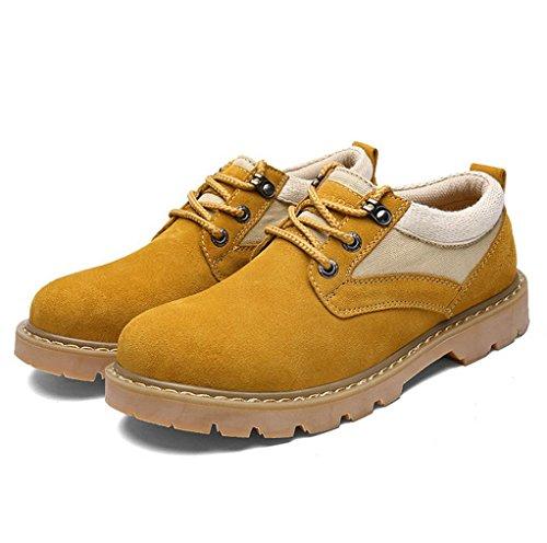 Heart&M casual gamuza único grueso corte bajo cuero calzado trabajo zapatos de hombre golden