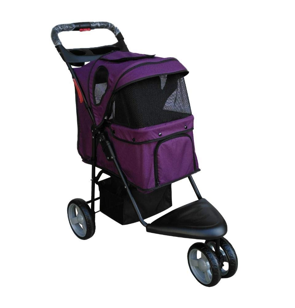 C Daeou Pet StrollerOxford Cloth jogging Small trolley convenient folding pet car