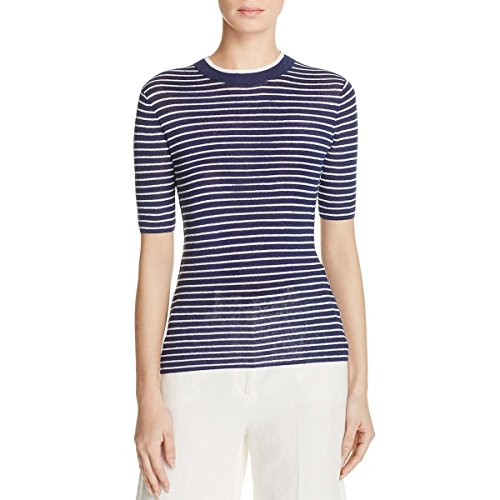 Theory Womens Hemitza Linen Striped Casual Top Blue L by Theory