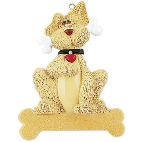 Personalized Tan Dog Bone Christmas Ornament for Tree 2018 - Big Fluffy Doggy Heart Collar Gives Paw - Pet Faithful Furever Breed Neutral Beige Yellow Labrador Terrier Pomerania - Free ()