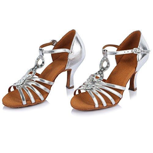 Roymall Chaussures De Danse Latine En Cuir Pour Femmes Chaussures De Danse Tango Salsa Performance, Modèle Af425 Argent