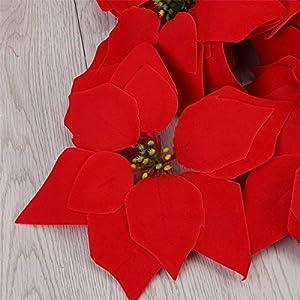 VORCOOL 50PCS Artificial Poinsettia Floral Heads Christmas Tree Decorations Xmas Home Front Door Wreath Table Centerpieces Arrangements Fake Hanging Vine Swag Decorative 3