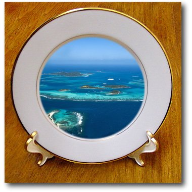 3dRose cp_75217_1 Tobago Cays, St. Vincent and The Grenadines-Ca35 Mde0139-Michael Defreitas-Porcelain Plate, 8-Inch
