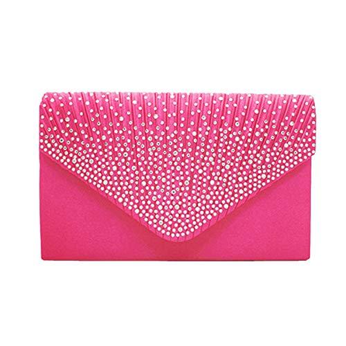 borsa Borsa a Lady colore elegante Over Borsa Night Wedding le Wallet Mini a Lady tracolla Per Size tracolla Small donne Red1 strass XYxTXU