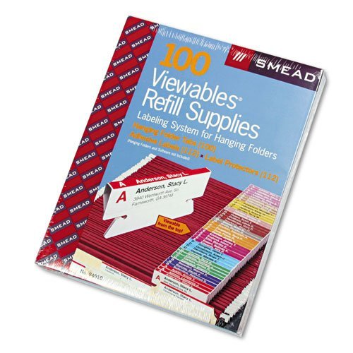 - Smead® - Viewables Color Labeling System, Pack Refill, 3 1/2 Inch, Assorted, 100/Pack - Sold As 1 Box - Create color-coded labels that attach to the patented three-sided hanging folder tabs.