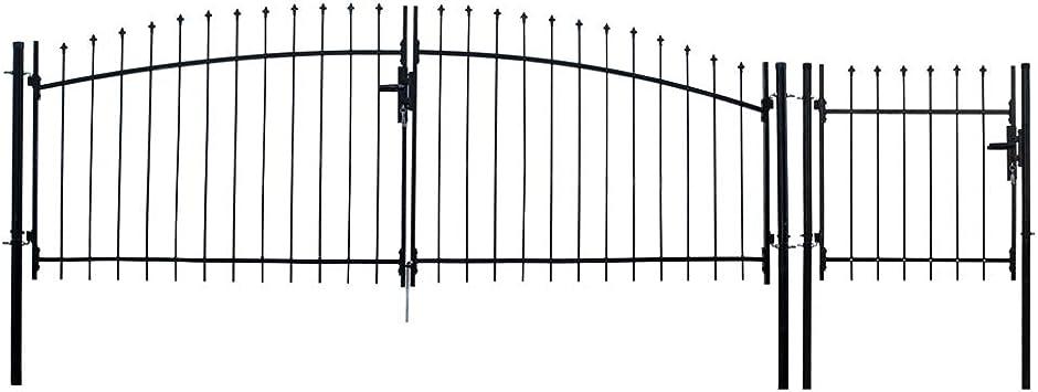 ALEKO DWGD11X5PD - Kit de puerta corredera doble de acero para jardín de 3 x 5 pies: Amazon.es: Jardín